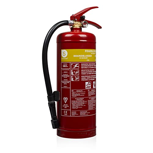 Smartwares Schaum Feuerlöscher 3L Klasse AB Stahl mit Halterung Druckregler