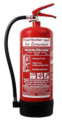 NEU 6 l Fettbrand Schaum Feuerlöscher auch für Österreich 34 A, 233 B, 75 F = 10 LE DIN EN3 GS + Wandhalter + Manometer + Standfuß, Fettbrandlöscher ABF