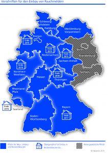 Hekatron Deutschlandkarte Rauchmelderpflicht